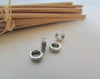 20 bead cord 7 x 3 mm antiqued Silver - 5 mm hole - 410.34
