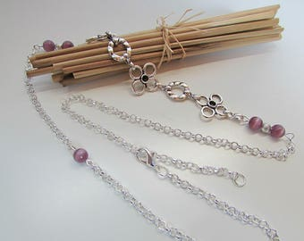 Headband - headband in silver and glass bead purple cat eye - 101