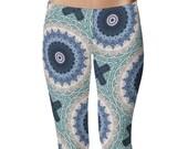 Ocean Blue Mandala Yoga Leggings, Mandala Print Tights, Blue and White Bohemian Leggings, Patterned Tights