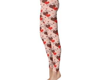 Love Leggings, Valentines Leggings, Heart Leggings, Womens Valentine's Day Outfit, Love Always Printed Tights