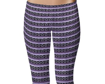 Striped Leggings Yoga Pants, Purple Stars Yoga Tights, Purple and Black Grunge Leggings