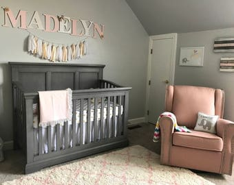 Blush white and gold nursery letters for baby girl