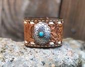 Genuine Navajo Hand Stamped Leather Bracelet Cuff