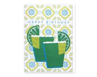 Margaritas Birthday Screen Printed Cards