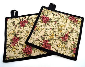 Quilted Pot Holders in Pink Christmas Floral Fabric - Set of Two
