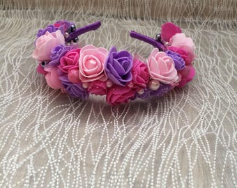 Floral handmade headband tiara with pink and violet roses.  For special occassions wedding party hen party and birthday