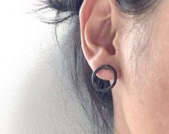 Blackened Silver Circle Earrings