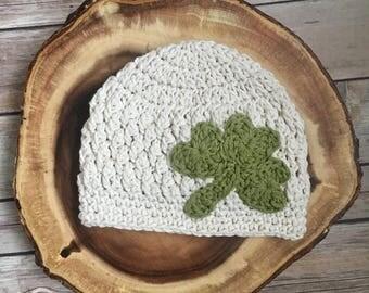 St. Patrick's Day Crochet Hat -Cotton Beanie - Shamrock Hat - Toddler - Baby - Newborn - Texture Hat - Irish Hat - Clover - Irish Cap