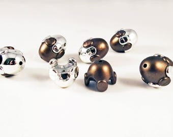 INV25 - Set of 6 large oval Brown Olives beads and silver can be opened or cage beads
