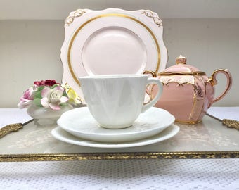 Classy & Elegant Crisp White Vintage Shelley 'Dainty' Teacup, Saucer and Plate, Perfect