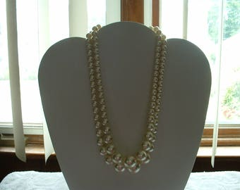 Vintage Double Strand Faux Peal Costume Necklace