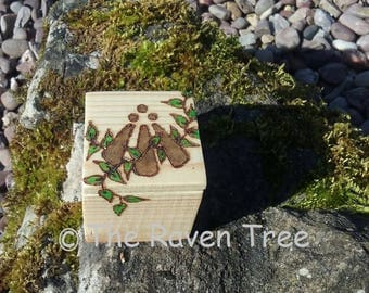 Handcrafted Wooden Box - Awen - Pyrographed