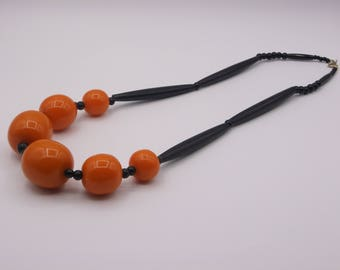 African Amber and Bone Bead Necklace