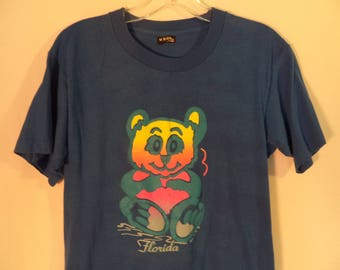80s Florida teddy bear t shirt// Thin neon screen printed travel tee// Vintage Screen Stars Best made in USA// Women's size S M small medium