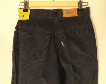 70s Levi's corduroy deadsock NEW NWT high waist pants// Straight leg blue mom jeans USA made // Women size xs small S 3 4 26W
