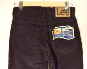 70s Lee Riders corduroy NEW nwt pants// Navy blue straight leg mid rise dead stock western hippie vintage// Unisex 27 x 32 / women xs 2-4