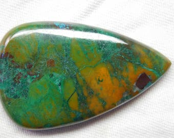 100% Natural Chrysocola pear shape cabachone beautiful gemstone 73.60cts 45x27x5mm