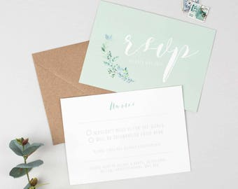 Botanical Wedding RSVP -  Floral Wedding Save The Date - Wedding Stationery - Invitation Suite - Save the Date, RSVP