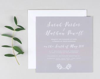 Elegant Grey Wedding Invitation - Wedding Invite - Wedding Stationery - Invitation Suite - elegant wedding invite