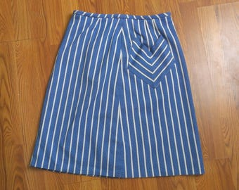 Vintage 60's Mid Century Blue and White Striped Pencil Skirt with Pockets 32 in waist