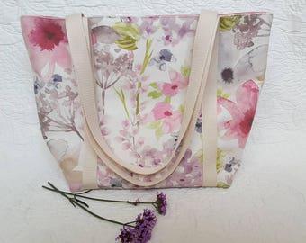 Pink Floral Tote Bag, Craft Bag, Everyday Bag, Shoulder Bag, Casual Bag, Knitting Bag