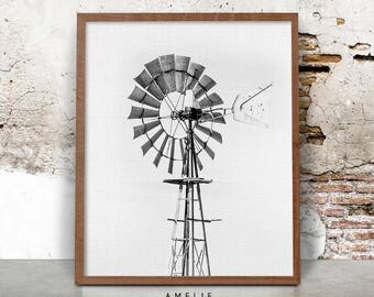 Windmill Print, Farmhouse Printable, Black and White Photography, Digital Download, Wall Art Decor, Farm Art Photo, Farmhouse Style