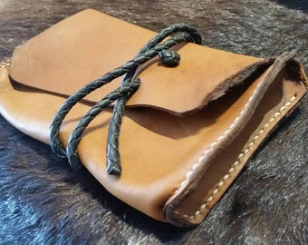 Soft leather pouch handmade with kangaroo leather braided tie