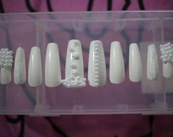 """Press On """"Pearly Whites"""" Nails"""