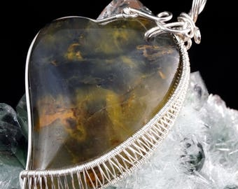 Sterling Silver pendant with Pietersite / wire wrapped / Handmade /