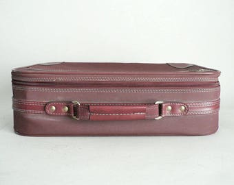 Small Oxblood Burgundy Suitcase