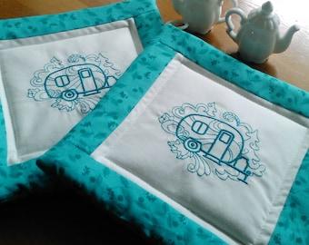 Pot holders, embroidered potholders, quilted pot holders, fabric trivet, mug rug, teapots.