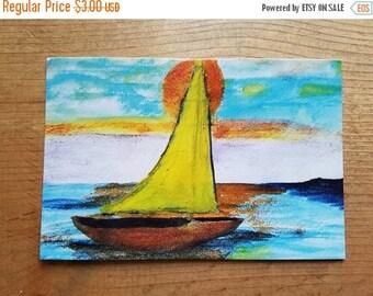 SALE Sunset Sailing Sail Boat Watercolor Seascape Painting POSTCARD Art PRINT By Scott D Van Osdol 4x6 Of My Original Artwork Nautical Coast