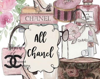 Digital Clip Art, Watercolor Clip  Art, Chanel Clip Art, Ladies Fashion Clip Art, Digital Fashion Scrapbook or Stickers. No. E40