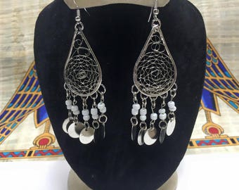 Unique Egyptian  Silver Plated Brass Earring Made In Egypt