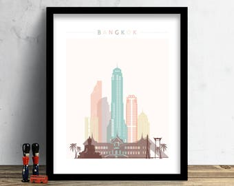Bangkok Skyline, Print, Watercolor Print, Wall Art, Thailand Cityscape, Watercolor Art, City Poster, Cityscape, Home Decor, Gift PRINT
