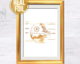 Star Wars, The empire art, Death star, Star wars art poster, Real gold foil Death Star Print, Men gift idea, Star wars fans gift idea G304