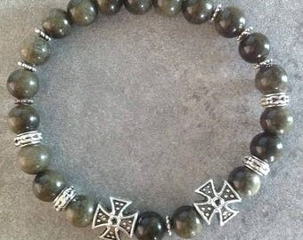 Please Bracelet energized, well being, Golden obsidian and its silver crosses