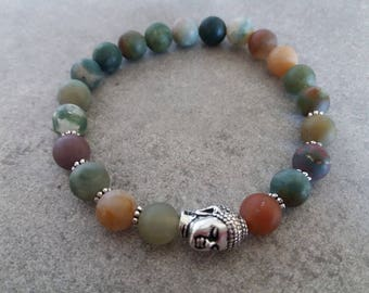 "Beautiful bracelet ""FOREST DREAM"" énergétisé Indian Agate and zen Buddha"