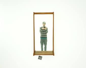 309-181 Danish Mid Century Modern Teak Tapered Hanging Wall Mirror + Shelf