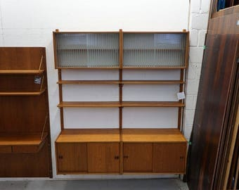 danish midcentury modern teak wall system shelving shelf shelves cado