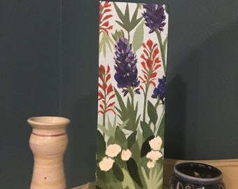 Abstract Texas Wildflowers Acrylic on 12x4 Stretched Canvas - Original and Handmade