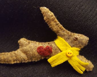 Leaping Hare Woolfelt Brooch