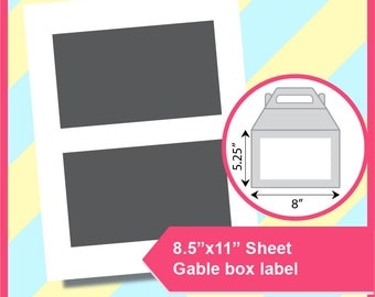 """Instant Download,Gable Lable Template, Gift box label PSD, PNG and SVG, Dxf Formats,  8.5x11"""" sheet,  Printable 108"""