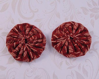 x 2 40mm red and beige lot16 fabric yoyos