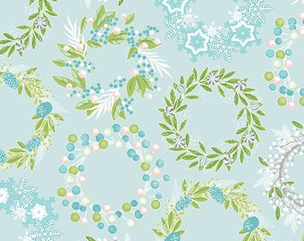 Sparkle - Per Yard - Contempo by Benartex - by Amanda Murphy - Wreaths on Blue