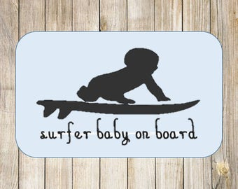 Surfer Baby On Board Car Decal