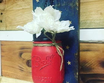 Wall Sconce - Mason Jar - American Flag - Red - White - Blue - Star - Rustic - Shabby Chic