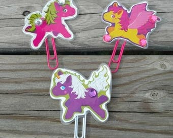 Set of 3, Magical Horse planner clip, Horse paper clip, Bookmark bookmarks, Planner accessories, Horse decorations, Cute planner clip