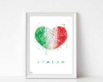 Italy poster, flag Italy art, art print, watercolor Italy, wedding gift, birthday, wall decor, Fine Art 270 g paper