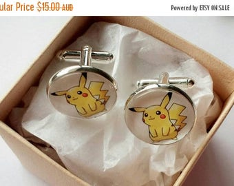 ON SALE Pokemon Glass Cufflinks - Silver Plated - Made to order